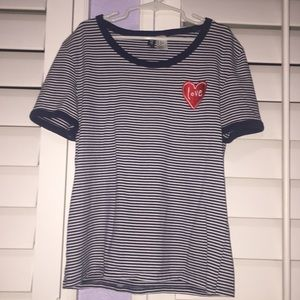 H&M Striped Blue and White T-Shirt